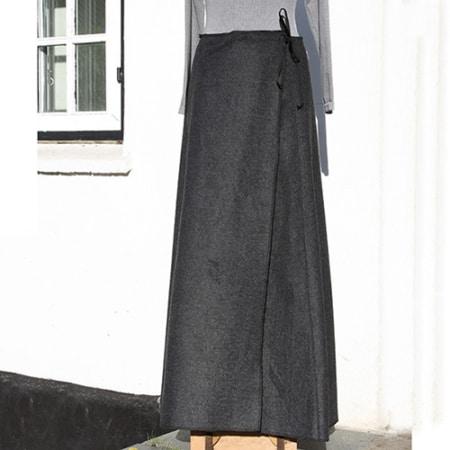 Grå uld nederdel
